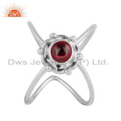 Natural Garnet Gemstone Handmade Design Oxidized Silver Ring Jewelry