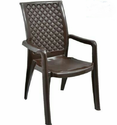 Brown Plastic High Back Chair with Arms