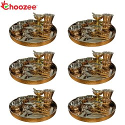 Choozee Copper Thali Set of 6 (72 Pcs) Thali, Bowl, Spoon, Matka Glass, Ice-Cream Cup