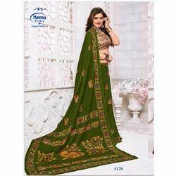 Meena Printed 4126 Ladies Cotton Party Wear Saree, 5.5 m (separate blouse piece)