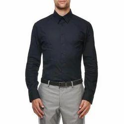 Cotton Collar Neck Mens Black Office Shirt, Size: Medium