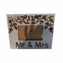 Brown, White Wooden Decorative Photo Frame