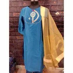 Silk Stitched Ladies Blue Georgette Salwar Kameez Suit, Handwash