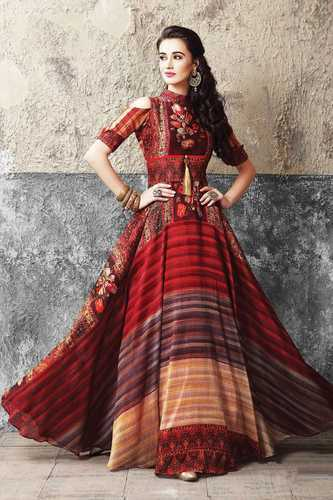 5a11fd0253 Beautiful Designer Muslin Cotton Digital Printed Gown