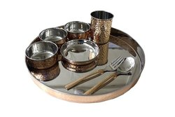 Round Copper And Silver Colour Copper Thali Set of 7 pcs, Packaging Type: Box