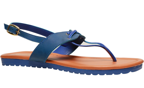 Synthetic Bata Blue Flat Sandals For Women F561940100