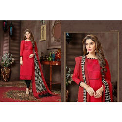 Cotton 3/4th Sleeve Red Ladies Long Kurti