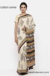 Cotton Kalamkari Printed Saree, 6 m (with blouse piece)