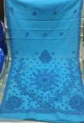 Blue Border Nazaqat Chikakari Pure Kota Cotton Saree, 6 m (With Blouse Piece)