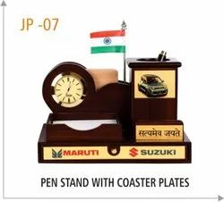 Pen Stand With Coaster Plates