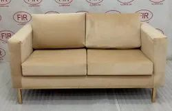 Wooden Modern Cushioned Suede Two Seater Sofa