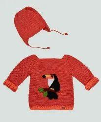 Button Orange Hand Knitted Sweater