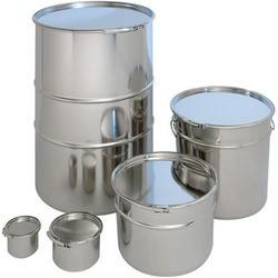 Sliver Stainless steel open top containers, For Pharma And Food Products, Capacity: 5 Ltr To 210 Ltr