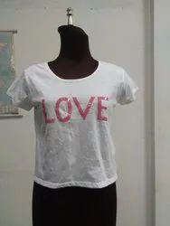 White Crop Top Short T Shirt, Age Group: 17-25