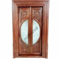 Teakwood Interior Pooja Room Doors, Thickness (milimetre): 5-10 Mm