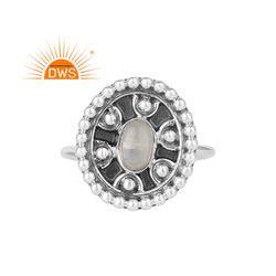 Rainbow Moonstone Gemstone Antique Design 925 Silver Oxidized Rings