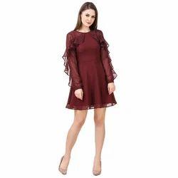 Burgundy-Wine Frill Sleeves Skater Dress 4cdd323ca