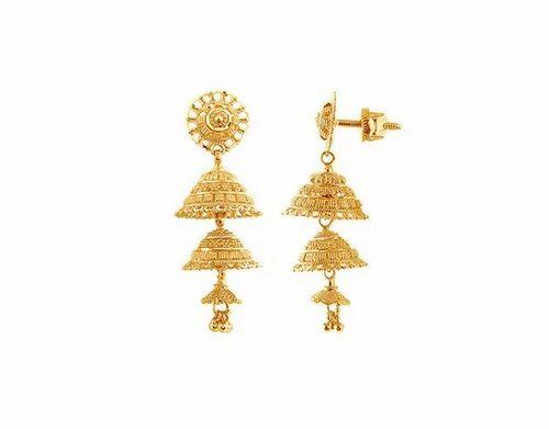 Velvetcase Best At 22k 916 Yellow Gold Jhumki Earrings