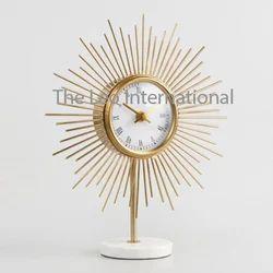 Golden color iron metal Designer clock on marble base
