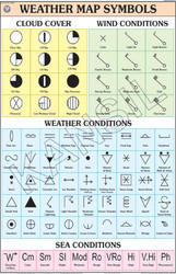 Colors On Weather Map.Natural Color Polyart Synthetic Paper Weather Map Symbols For