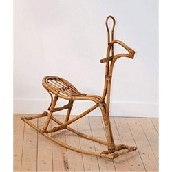 Brown IRA Furniture Cane Horse Shaped Rocking Chair