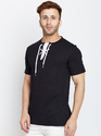 Cotton Men Black Round Neck T-Shirt
