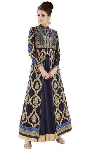 4bd6032fffe Chudidar Navy Blue Color Wedding Wear Semi-Stitched Dress Material ...