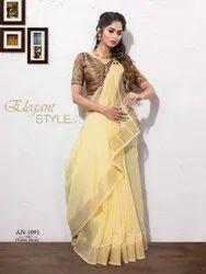 Semi Linen Saree in Light Yellow