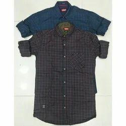 Trap Collar Neck Designer Cotton Check Shirt