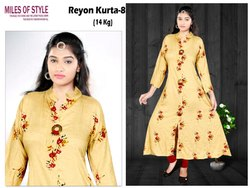 Rayon Printed Fancy Long Kurti