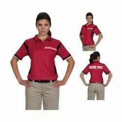 Half Sleeve Printed Ladies Collar T-Shirts