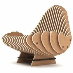 Modern CNC Cut Wood Parametric Chair, For Home, Finish: Polished