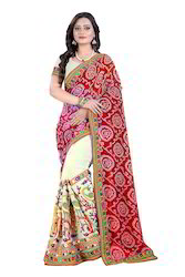 Kutchi Work Bandhani Peacock Embroidery Saree