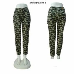 MM-21 Skinny Military Green Cotton Jeans For Women