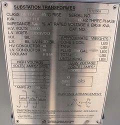 Substation Transformer Plate