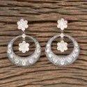 Brass White Designer Black Rose Plated Classic Earring 406971