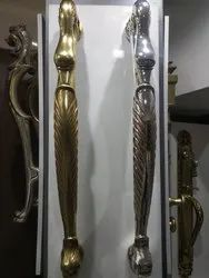 Nickel Finish Exterior Door Silver And Golden Plating Door Handle