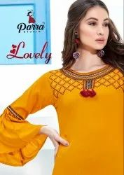 Lovely-Parra Studio Beautiful Designer Rayon With Embroidery Work Kurti With Sharara