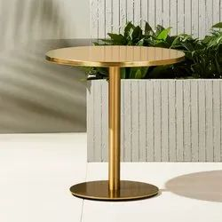 Polished Golden Brass Round Table, For Home,Hotel, Size: 3.5-4 Feet(Height)
