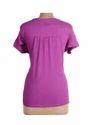 Ladies Cut Work Mega Sleeve Purple Top