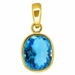 Blue Topaz Pendent Panchdhatu 24K Gold Polish Gemstone