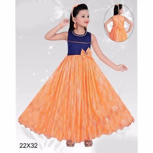 c79568824ec Chiffon Orange And Blue Kids Party Wear Frocks