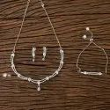 Cz Combo Necklace Sets With Rhodium Plating 406417
