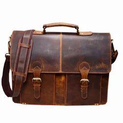 Light Brown Plain Leather Portfolio Bag, For Laptop Protector