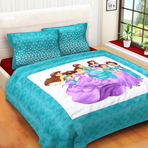 MultiColor Cotton Cartoon Print King Size Bed Sheets, Size: King Size