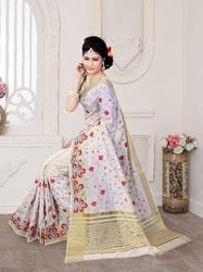 Elegant White Silk Saree