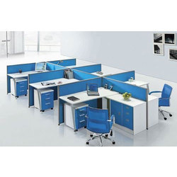 Wood and Stainless Steel Blue, White Modular Office Workstation