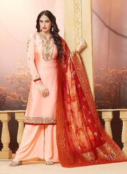 Peach Banarasi Silk Party Wear Palazzo Salwar Suits