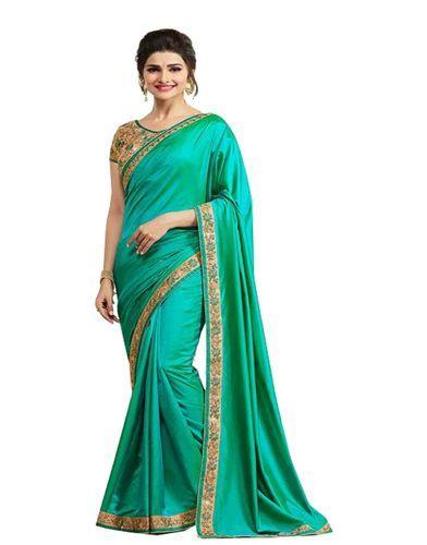 3d45eb54bb1e8 Designer Green Paper Silk Saree