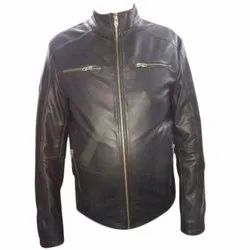 Casual Wear Regular Fit Black Pure Leather Jacket, Size: S-XXL